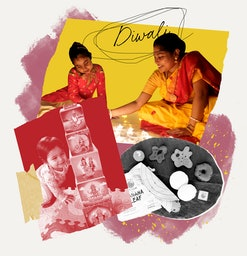 A collage featuring an mother in an Indian sari playing with her daughter; the author's own 1-year-old daughter playing with blocks featuring Hindu goddesses, and a black and white photograph of plush toy food from Southern India.