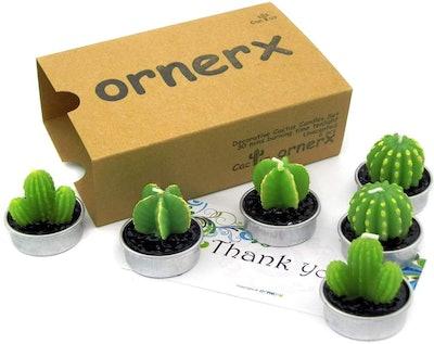 Ornerx Decorative Cactus Tea Light Candles 6 Pcs