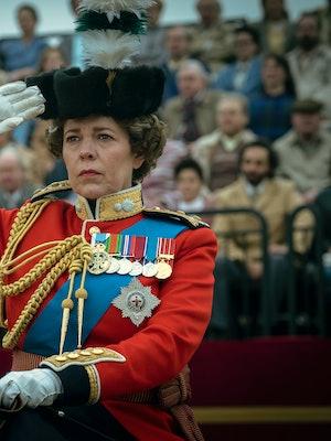 Queen Elizabeth II trooping the colour in 'The Crown,' via Netflix press site.