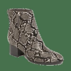 Faux-Snakeskin Side-Zip Block-Heel Booties