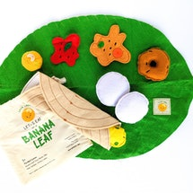 This plush South Indian meal encourages role play where children can eat their favorite dosa, idlis and more on a banana leaf.