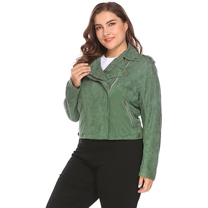 IN'VOLAND Plus Size Faux Suede Cropped Jacket