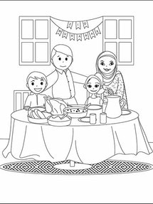 "A black and white drawing of a family from ""My First Eid Coloring Book,"" which introduces children to Islamic culture and the most important Muslim holiday."