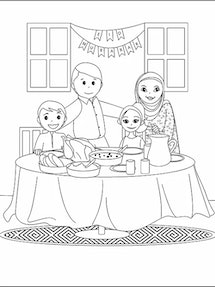 """A black and white drawing of a family from """"My First Eid Coloring Book,"""" which introduces children to Islamic culture and the most important Muslim holiday."""