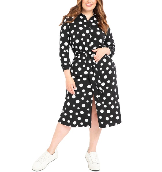 Elements Women's Plus Size Polka Dot Midi Shirtdress