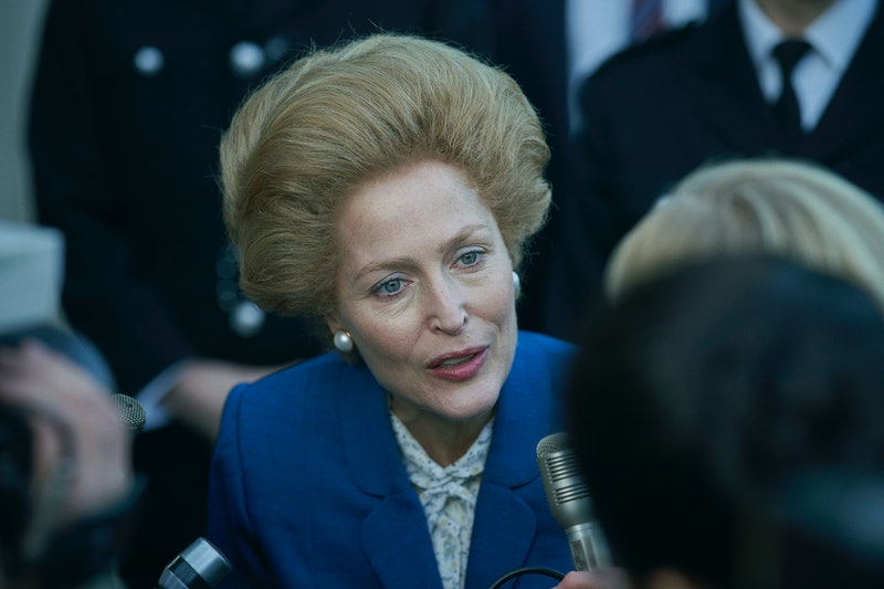 Gillian Anderson as Margaret Thatcher in 'The Crown' Season 4 via the Netflix press site