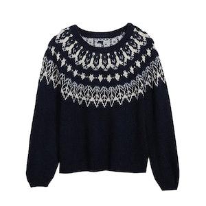Cozy Fair Isle Blouson-Sleeve Sweater