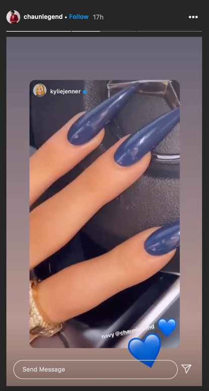 Chaun Legend did navy nails for Kylie Jenner.