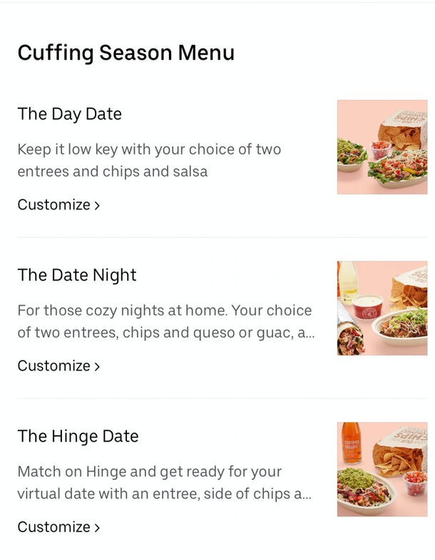 Chipotle's Uber Eats Cuffing Season Menu with Hinge includes up to $8 off an order.