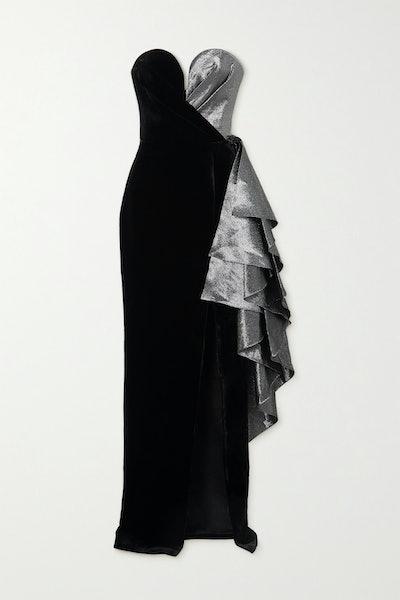 Rasario Strapless Ruffled Lamé and Velvet Gown