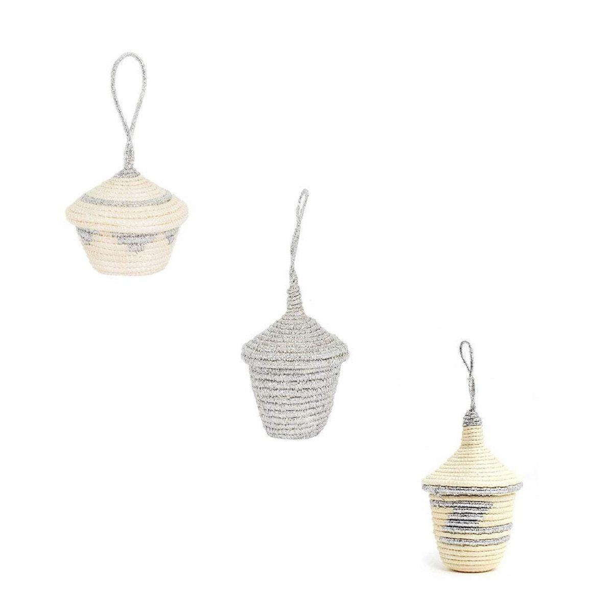 Mini Lidded Ornament Baskets - White & Silver Set Three