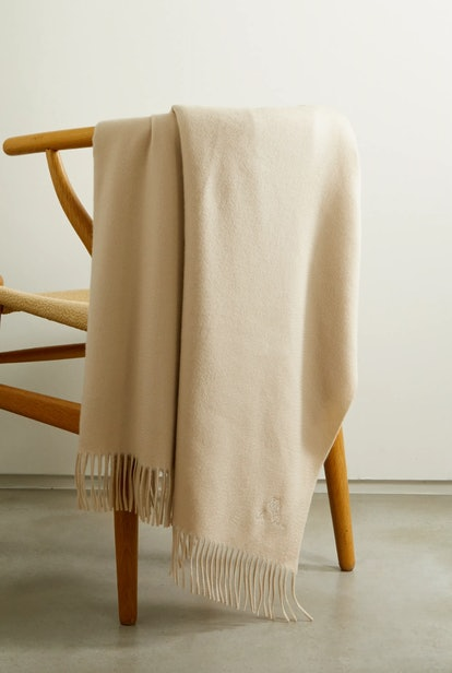 Fringed Embroidered Cashmere Throw