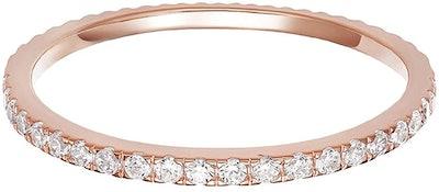 PAVOI 14K Gold Simulated Diamond Eternity Ring