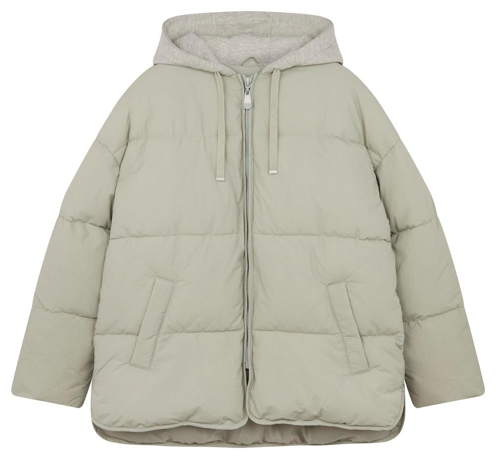 Oversized Jersey Hooded Puffer Jacket