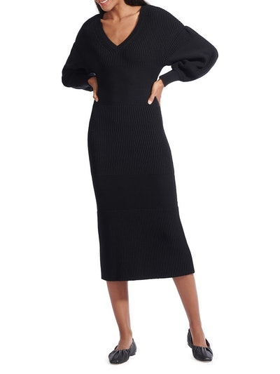 Carnation Long Balloon-Sleeve Midi Sweater Dress