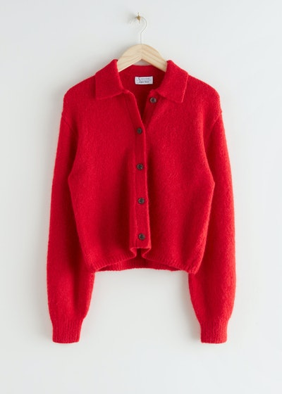 Wool Blend Tortoise Button Cardigan