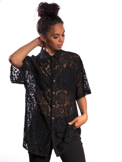 Stuzo Clothing Lace Short Sleeve Button Down