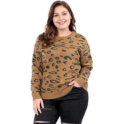 Agnes Orinda Plus Size Leopard Sweater