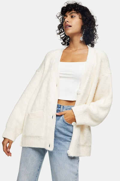 Ivory Brushed Ribbed Midi Cardigan