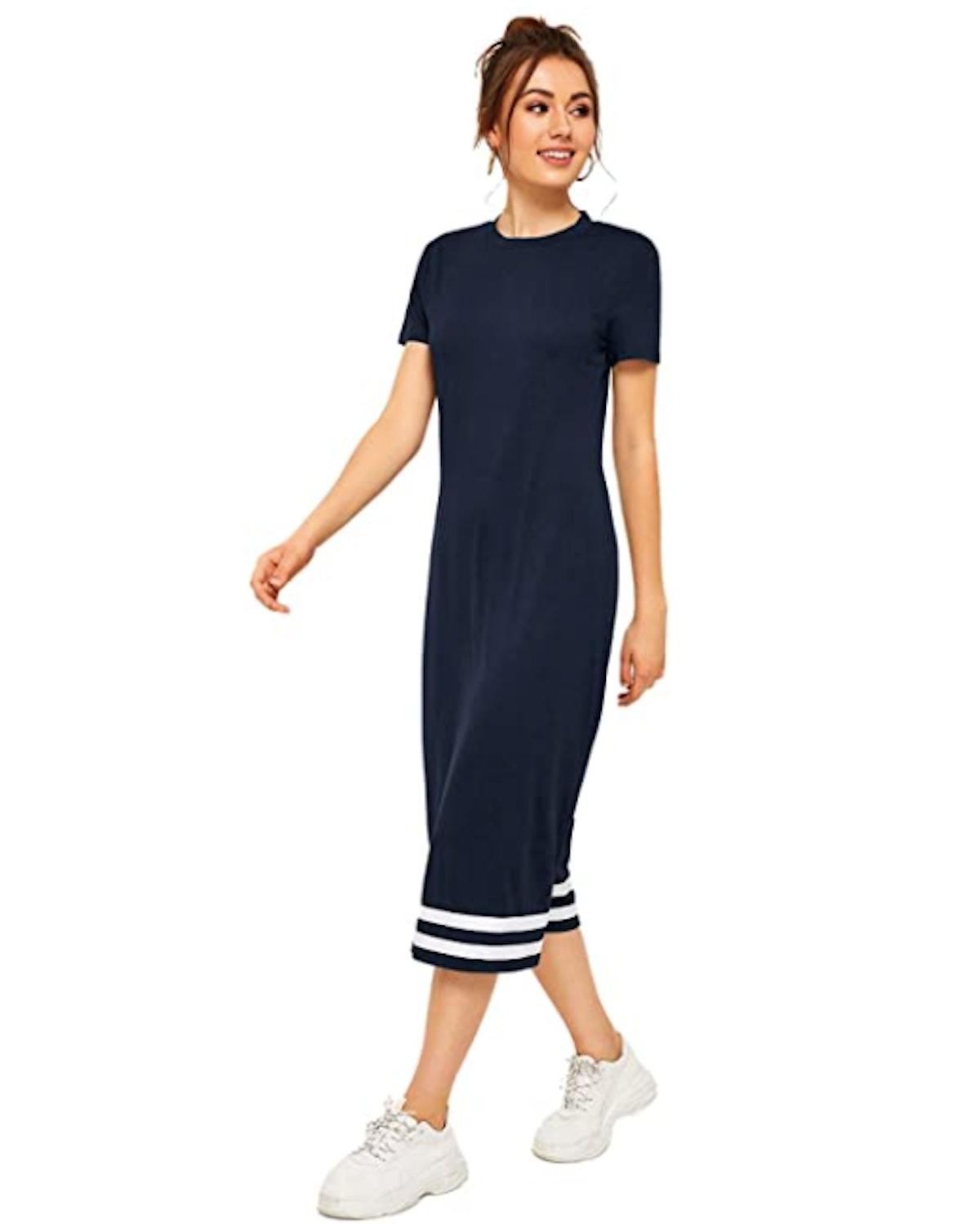 Romwe Midi T-Shirt Dress