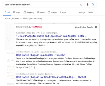 Screenshot of coffee shop search results using Simple Search