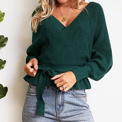 ZESICA Wrap Batwing Belted Sweater