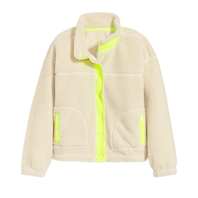 Cozy Sherpa Snap-Front Crop Jacket for Women