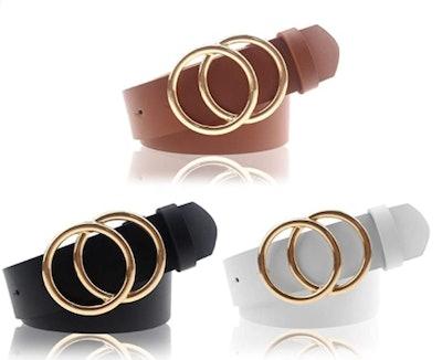 Udekit Faux Leather Belts (3-Pack)