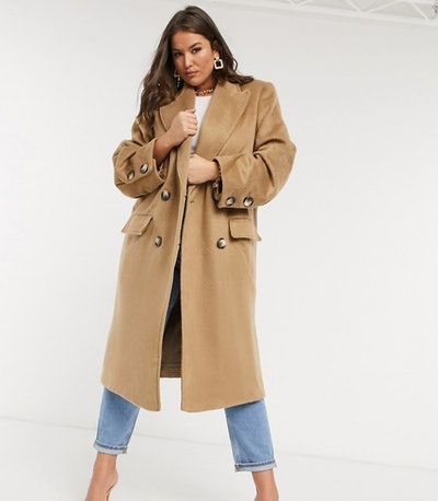 Curve Brushed Luxe Maxi Coat in Camel