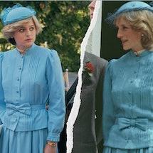 Emma Corrin in 'The Crown' Season 4 vs. the real Princess Diana