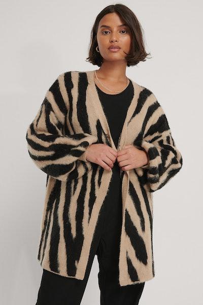 Zebra Knitted Oversized Brushed Cardigan