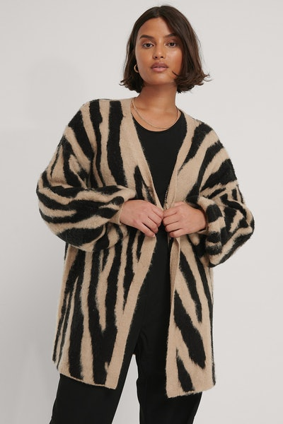 Zebra Knitted Oversized Brushed Cardigan