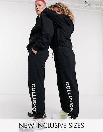 COLLUSION Unisex logo joggers in black