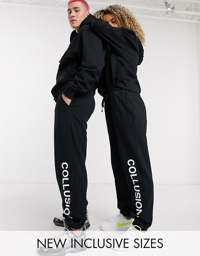 COLLUSION Unisex logo joggers in black