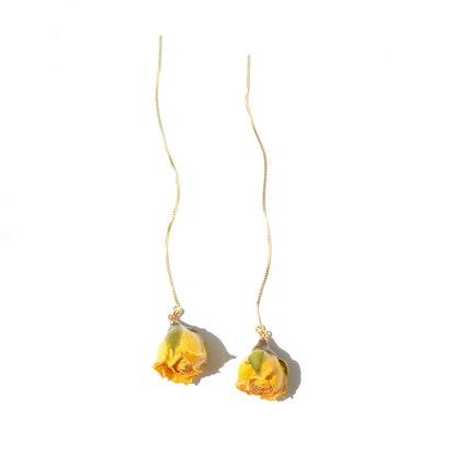 Real Flower Rosa Korresia Yellow Rosebud 18K Gold Vermeil Threader Earrings