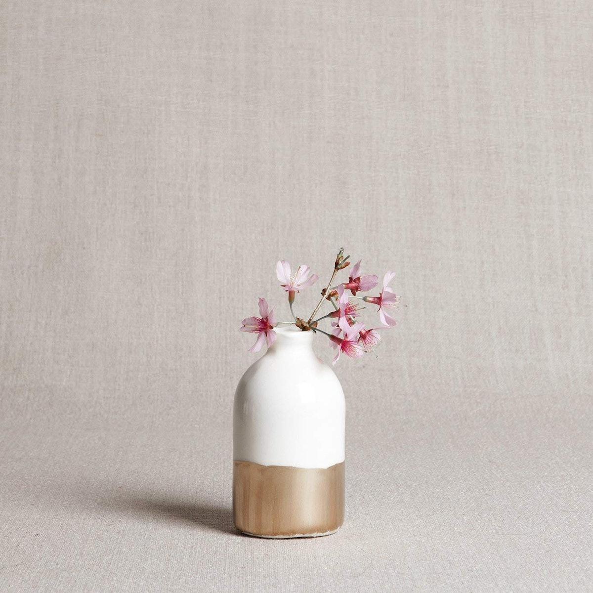 Porcelain Bud Vase White and Gold