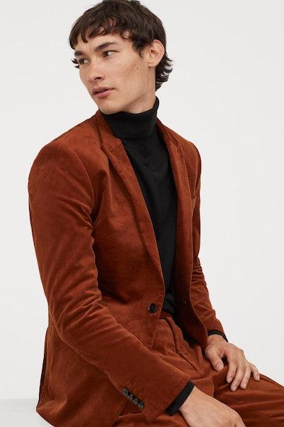 Skinny Fit Velvet Blazer