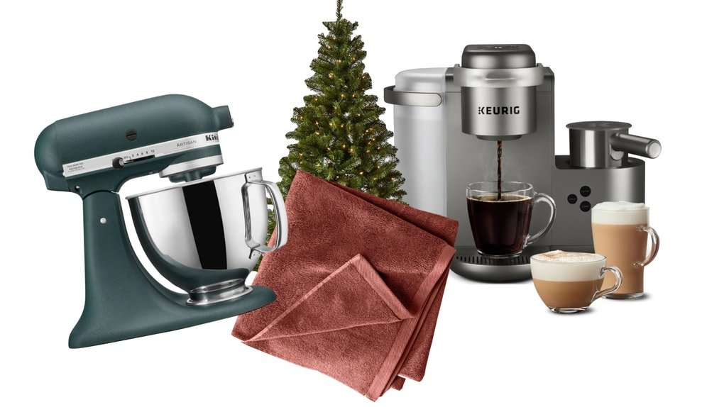 The products included in Target's 2020 Black Friday Home Goods Deals are a KitchenAid stand mixer, artificial tree, Keurig coffee maker, and organic towels.