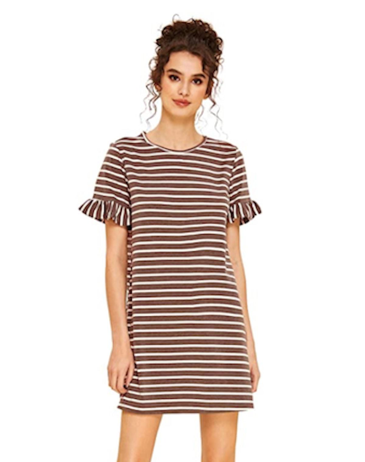 Floerns Ruffle Sleeve T-Shirt Dress