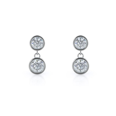 Round Natural Diamond Two Stone Drop Earrings