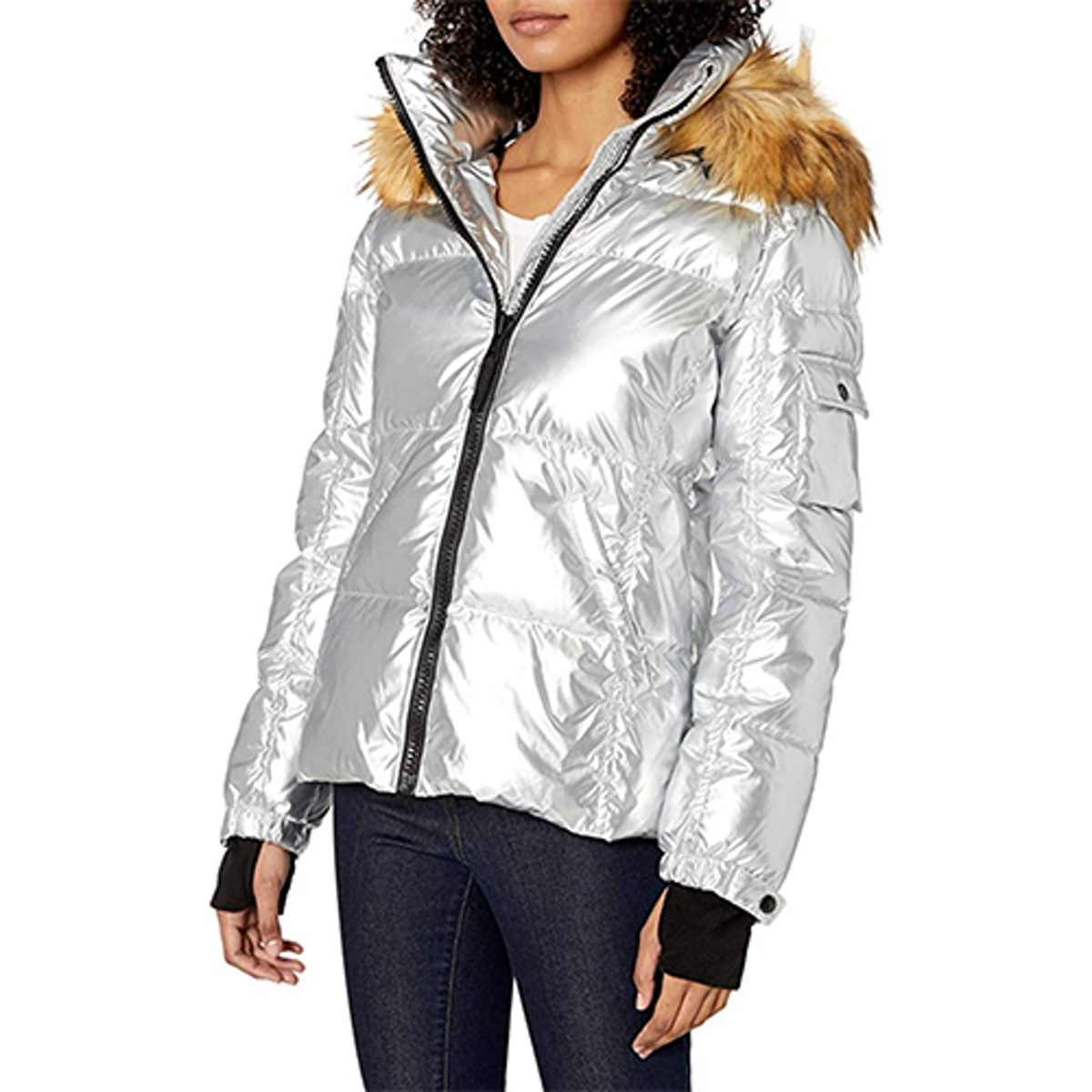 S13 Kylie Down Puffer Jacket With Faux Fur Trimmed Hood