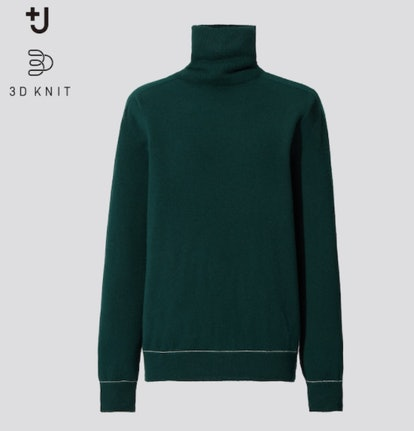 WOMEN +J 3D KNIT CASHMERE TURTLENECK SWEATER