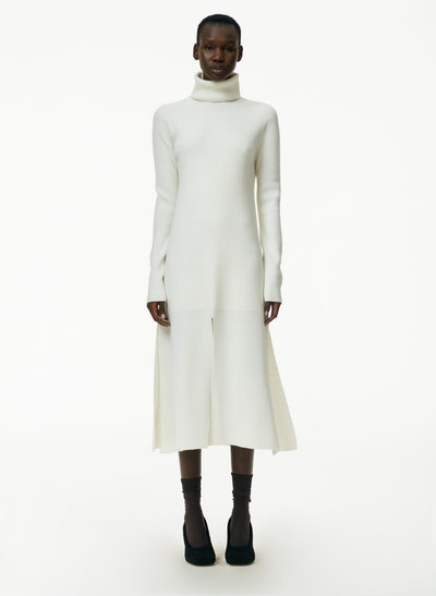 Flo Wool Blend Ribbed Flap Hem Turtleneck Sweater Dress