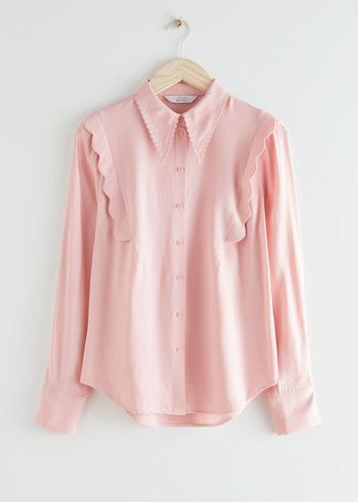 Scalloped Jacquard Shirt