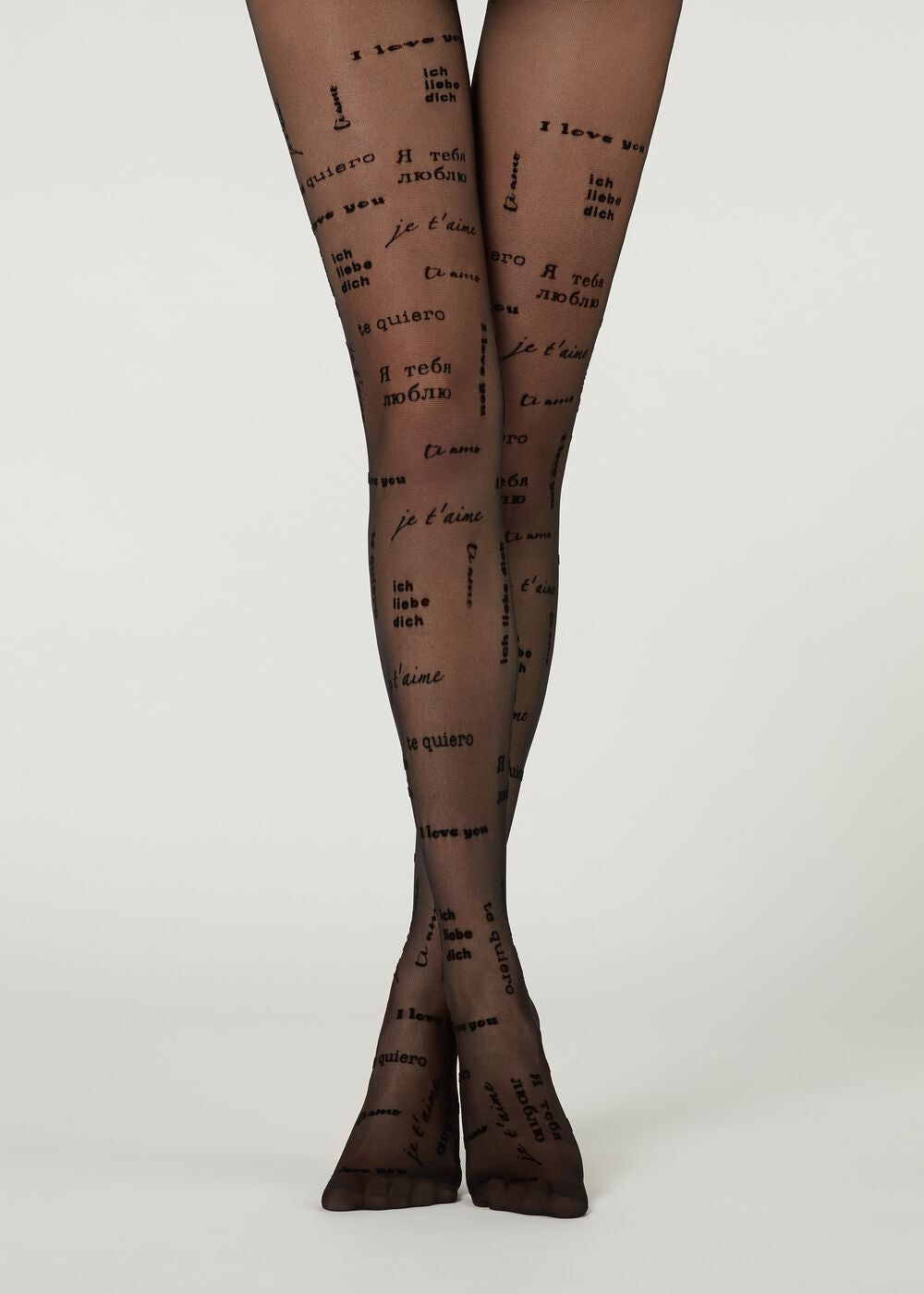 Sheer Tights with Flock Print