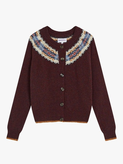 Brora Wool Fair Isle Yoke Cardigan