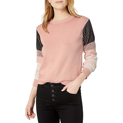 Cable Stitch Contrast-Sleeve Sweater
