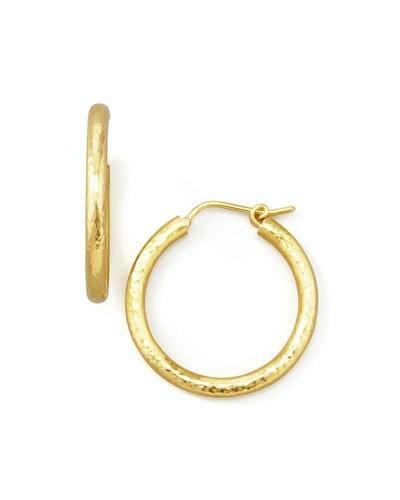Giant Hammered 19k Gold Hoop Earrings