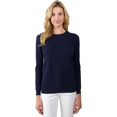JENNIE LIU 100% Cashmere Long Sleeve Pullover Crew Neck Sweater