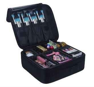 Relavel Travel Makeup Train Case Makeup Cosmetic Case Organizer Portable Artist Storage Bag